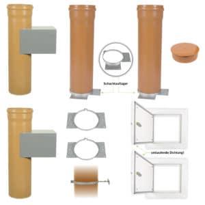 Wäscheabwurfschacht-Komplettset mit 2 Standardeinwurftüren